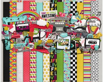 Totally 80's - Papers & Elements for Digital Scrapbooking