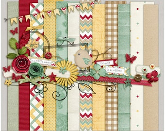Country Charm Kit - Papers & Elements for Digital Scrapbooking