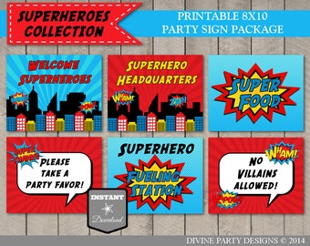 INSTANT DOWNLOAD Superhero Birthday Party Printable 8x10 Sign Package / Superheroes Collection / Item #501