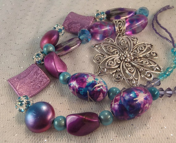 Purple & Aqua Silver Flower Necklace with Swarovski Crystals