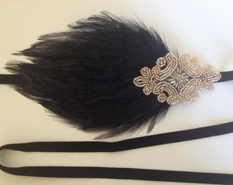 Black feather Headpiece, black Feather headband Great Gatsby 1920s Wedding Headband Cream Ivory Feather Fascinator on Cream Ivory Ribbon