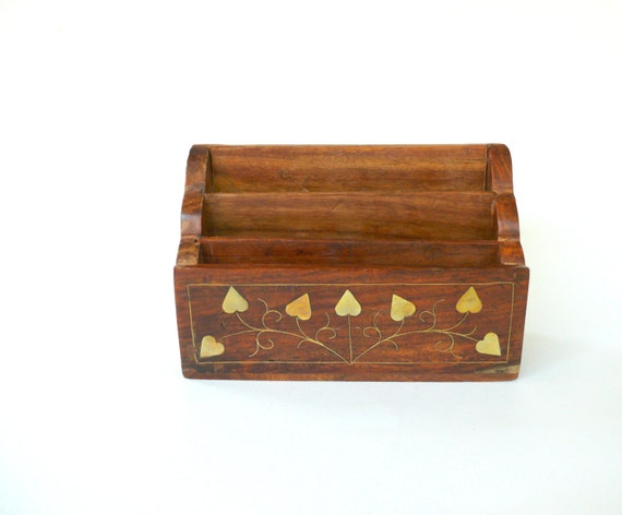 Wood and brass letter rack vintage letter holder desk for Vintage letter holder desk
