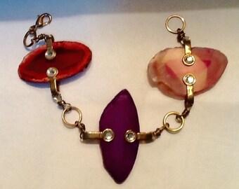 Vintage Agate Chain Link  Bracelet / Abstract / Boho / Avant Garde / Retro / High Fashion / Link Bracelet / Hipster