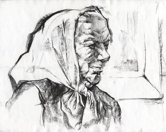 Original drawing of old lady - charcoal portrait of angry babushka , paper