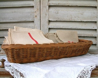 French vintage large long bread basket. French baguette basket. Rustic french country farmhouse