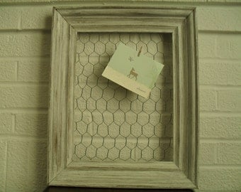 Chicken Wire Memo Board Message Board Photo Display Jewelry Display White Distressed Frame Shabby Cottage Style