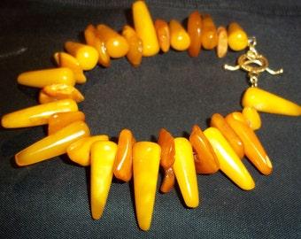 Handcrafted Genuine Butterscotch 'Egg Yolk' Amber  Bracelet 21g