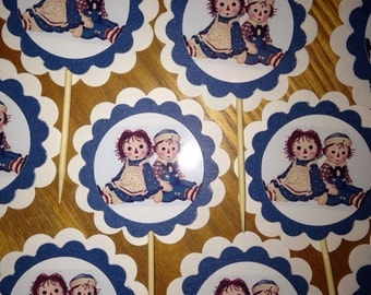 Raggedy Ann and Andy party cupcake toppers Birthday Baby Shower