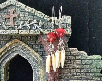 Red shell dangle earrings