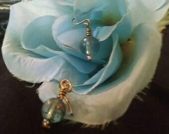 Clear Blue Beaded Earring (Fairy Lantern)