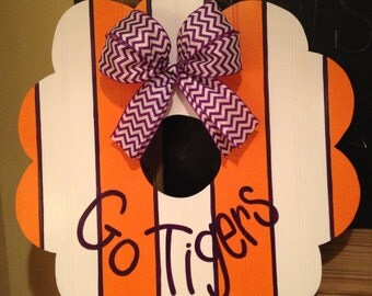 Clemson wreath, Go Tigers Wreath, Orange and Purple, College Football Wreath