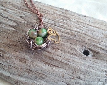 SALE! Copper Wire Wrapped Bird Nest Necklace with Green Beads