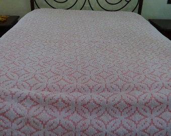 Pink and White Vintage Chenille Bedspread, Daisy Pattern, Gorgeous, #2