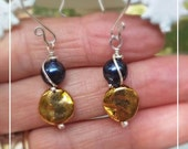 Navy Blue and Gold Earrings with Solid Sterling Silver   - Fine Jewelry - Team Spirit