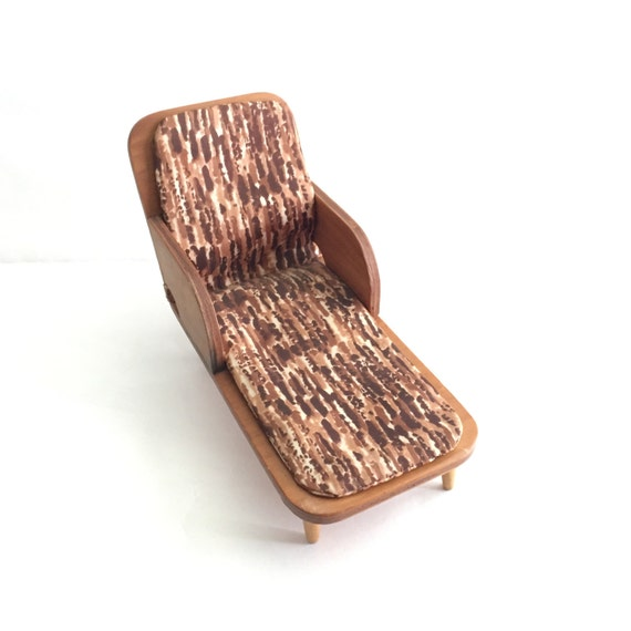 Vintage dollhouse mid century modern chaise lounge chair 1 6 for Century furniture chaise lounge