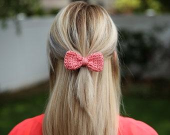 Crochet Hair Bow- Girls Hair Clip Salmon