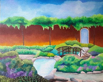 """Peaceful Pond And Garden Original Acrylic Painting On Canvas 16 """" Height x 20 """" Width x 3 / 4 """" Profile"""
