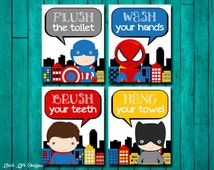 Superhero Bathroom Wall Art. Superhero Bathroom Decor. Superhero Signs. Superhero Decor. Boys Bathroom Decor. Brush. Wash. Flush. Hang.