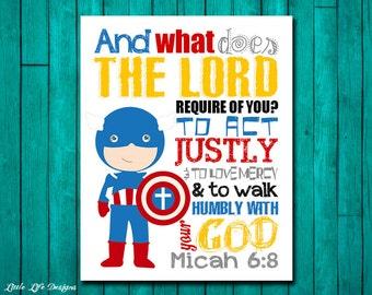 Seek Justice, Love Mercy, Walk Humbly. Micah 6:8. Superhero Wall Art. Superhero Boys Decor. Superhero Decor. Christian Bible Verse. Boy Room