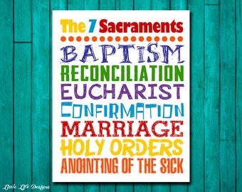 The Seven Sacraments. Catholic Wall Art for Kids. Childrens Room Decor. Catholic School. Catholic Kids Wall Art. The 7 Sacraments. Religious