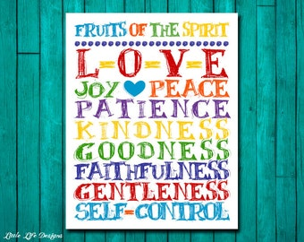 Fruit of the Spirit Wall Art. Christian Wall Art. Scripture. Christian Home Decor. Fruits of the Spirit. Childrens Wall Art. Sunday School.