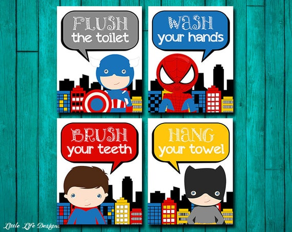 superhero bathroom wall art superhero bathroom decor. Black Bedroom Furniture Sets. Home Design Ideas
