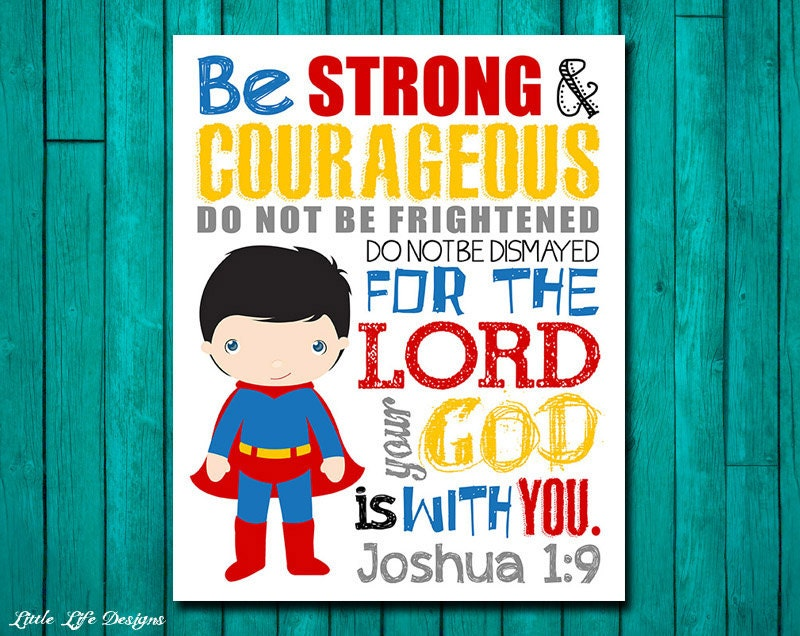 Be strong courageous joshua 1 9 superhero wall art for Bible verses for kids rooms