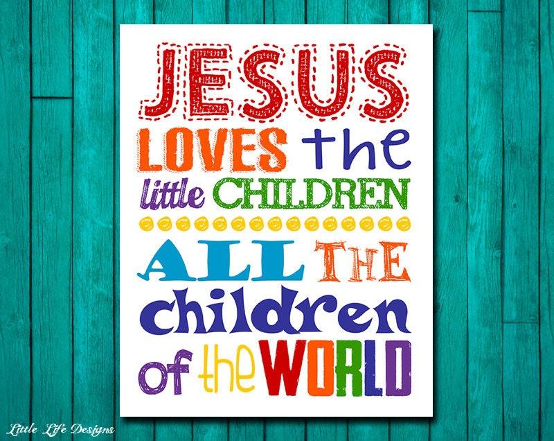 Jesus Loves The Little Children Childrens Decor Christian