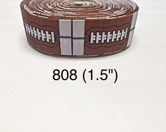 """3 or 5 yard - 1.5"""" Football Sport on Brown and White Grosgrain Ribbon Hair bow"""