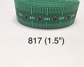 "3 or 5 yard - 1.5"" Football Field Sport on Green Grosgrain Ribbon Hair bow"