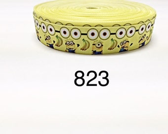 "3 or 5 yard - 1"" Minions and Friends with Banana on Yellow Grosgrain Ribbon Hair bow"