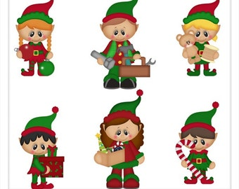 DIGITAL SCRAPBOOKING CLIPART - Santa's Helpers