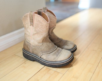 vintage tan suede leather top stitched cowboy boots kids 3