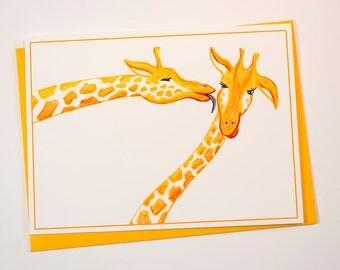 Giraffes card, birthday card, I love you card, thank you card