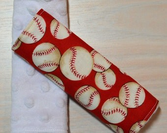Car Seat Strap Covers - Red Baseballs