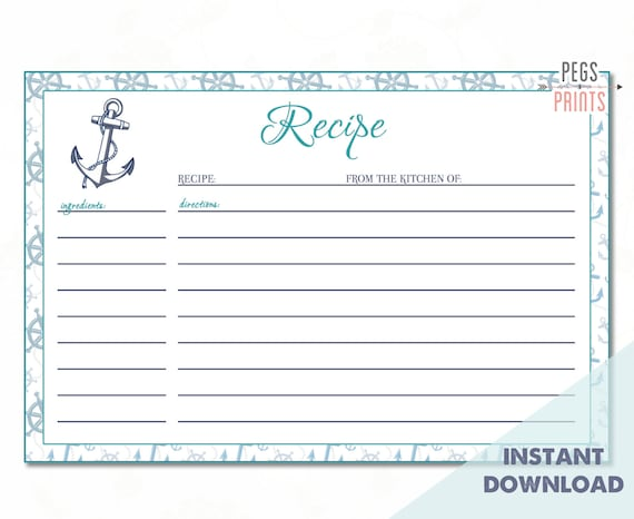 recipe index cards template