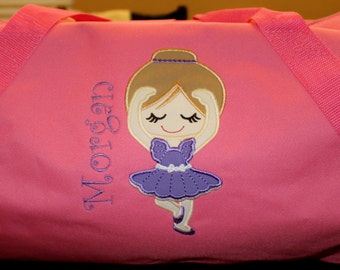 Personalized Embroidered Ballerina Dance Duffle Bag