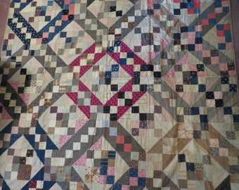 Antique quilt top or Tied Quilt  //  Antique 1800s Fabrics  //  Cotton Double Pinks Shirtings and Indigos  // Jacob's Ladder Pattern