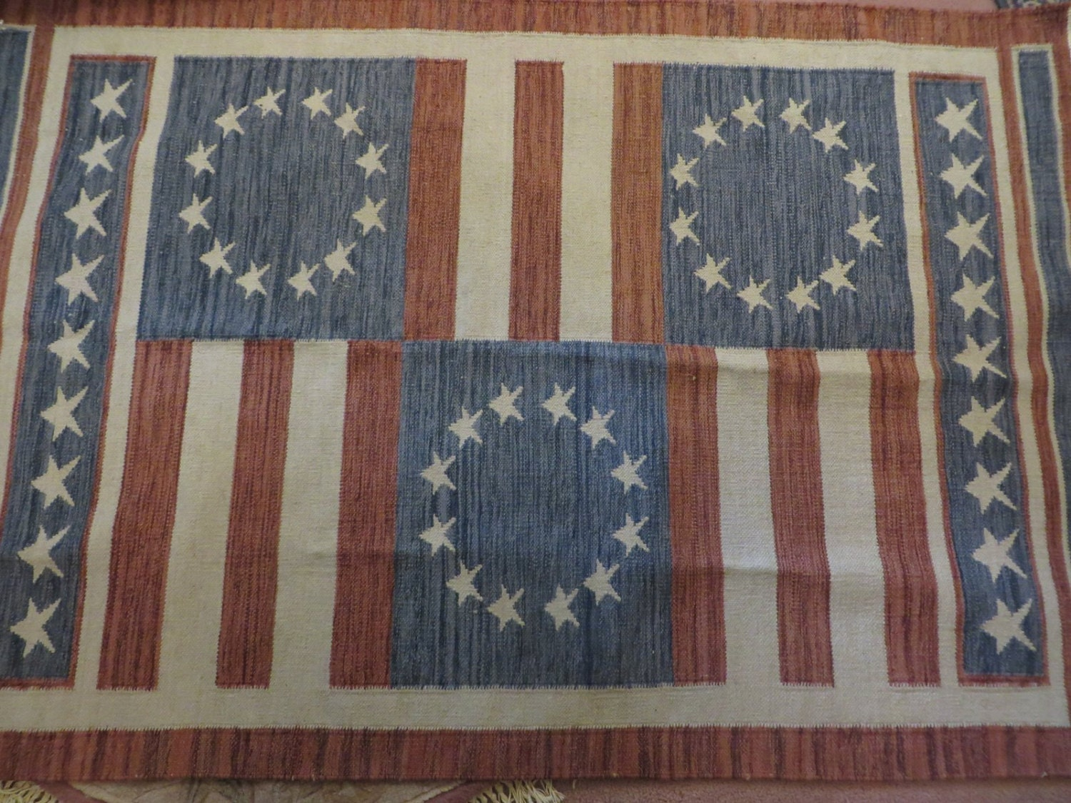 Wool woven area rug red white blue stripes and stars for Red and white striped area rug