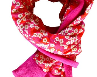 Liberty scarf mitsi red and fuchsia