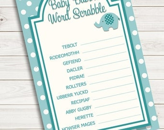 Baby Shower Games Word Scrabble Scramble Turquoise Elephant~Printable~INSTANT DOWNLOAD