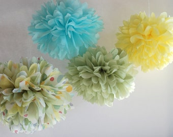 Gender Neutral Baby Shower Tissue Paper Poms set of 4 / gender neutral baby / gender neutral decoration / blue and green and yellow polkadot