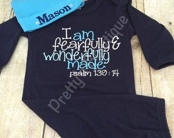 Newborn boy coming home outfit gown and beanie -- I am fearfully & wonderfully made Navy Gown psalm 139:14.  Perfect coming home outfit