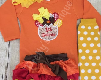 Baby Girls First Thanksgiving Outfit with Legwarmers, Bloomers and Flower Headband – Sizes Newborn to 24 Months