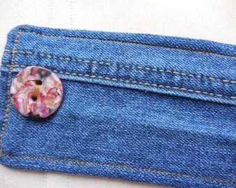 "Bracelet Denim Cuff, eco friendly, medium wash recycled jeans, handmade polymer clay button, upcycled earth friendly jewelry, 6 1/2"" wrist"