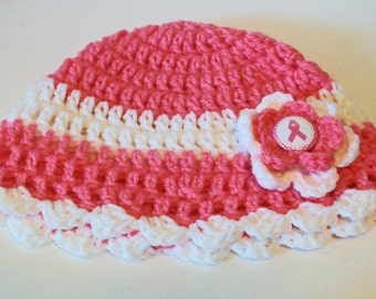 Fun Pink and White Breast Cancer Awareness Hand Crocheted Hat with Scalloped Edge Great Photo Prop 5 Sizes Available