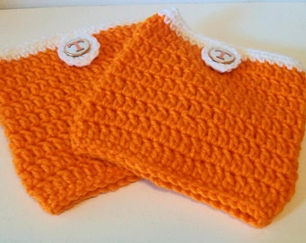Trendy Orange and White Tennessee Inspired Hand Crocheted Boot Cuffs Cute Accessory 5 Sizes Available