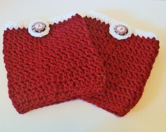 Trendy Crimson and White Alabama Inspired Hand Crocheted Boot Cuffs Cute Accessory 5 Sizes Available