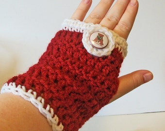 Trendy Crimson and White Alabama Inspired Hand Crocheted Fingerless Gloves 3 Sizes Available