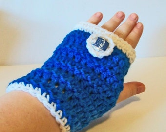 Fun Blue and White Blue Devils Hand Crocheted Fingerless Gloves 3 Sizes Available